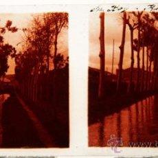 Fotografía antigua: NUMULITE C0105 CRISTAL ESTEREOSCÓPICO SANT BOI DE LLOBREGAT SAN BOY RIEGO CANAL REC. Lote 32343119