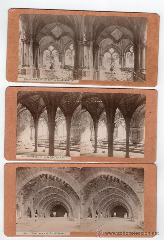 MONASTERIO DE POBLET, TARRAGONA. 3 FOTOS ESTEREOSCÓPICAS 1900'S. 18X9 CM CADA UNA. (Fotografía Antigua - Estereoscópicas)