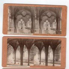 Fotografía antigua: MONASTERIO DE POBLET, TARRAGONA. 3 FOTOS ESTEREOSCÓPICAS 1900'S. 18X9 CM CADA UNA.. Lote 32646891