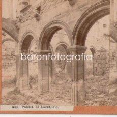 Fotografía antigua: MONASTERIO DE POBLET, TARRAGONA, FOTO ESTEREOSCÓPICA 1900'S. 18X9 CM. Lote 32646911