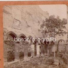 Fotografía antigua: POBLET, PATIO DEL CLAUSTRO DE S. ESTEBAN, 1900S. ALBÚMINA ESTEREOSCÓPICA 18X9 CM. Lote 32646930
