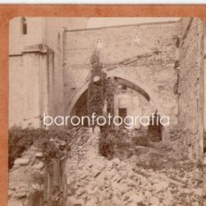 Fotografía antigua: POBLET, DETALLE DE LAS RUINAS, 1900'S. ALBÚMINA ESTEREO 18X9 CM. Lote 32646943