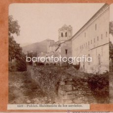 Fotografía antigua: POBLET, HABITACIÓN DE LOS NOVICIOS, 1900'S. ALBÚMINA ESTEREO 18X9 CM.. Lote 32646964