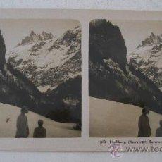 Fotografía antigua: FOTO ESTEREOSCOPICA SUIZA: ENGELBERG(HERRENRUTT) SURENPASS U SPANNÖRTER,EDITOR NPG310 (18X9CM APROX). Lote 33880626