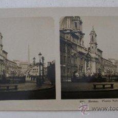 Fotografía antigua: FOTO ESTEREOSCOPICA ITALIA: ROMA, PLAZZA NAVONA , EDITOR NPG201 (18X9CM APROX). Lote 33880606