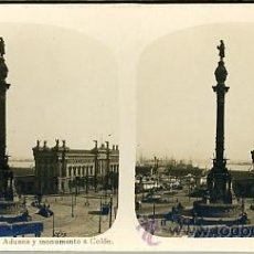 Fotografía antigua: FOTOGRAFÍA ANTIGUA ESTEREOSCÓPICA. BARCELONA. ADUANA Y MONUMENTO A COLÓN. Lote 32934927