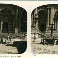 Fotografía antigua: FOTOGRAFÍA ANTIGUA ESTEREOSCÓPICA. MÁLAGA. PUERTA PRINCIPAL DE LA CATEDRAL. Lote 32935079
