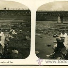 Fotografía antigua: FOTOGRAFÍA ANTIGUA ESTEREOSCÓPICA. GERONA. PUENTE SOBRE EL TER. Lote 32935280