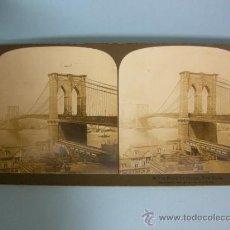 Fotografía antigua: ANTIGUA VISTA ESTEREOSCOPICA - PUENTE DE BROOKLYN, NUEVA YORK, ESTADOS UNIDOS - 1901. Lote 168161258