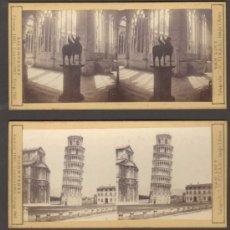 Fotografía antigua: 9 FOTOGRAFIAS ALBUMINAA ESTEREOSCOPICAS. TORRE, MONUMENTO, PALACIO, IGLESIA. PISA, ITALIA. CA.1880. Lote 33528051