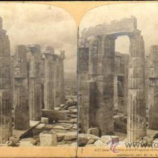 Fotografía antigua: ALBUMINA ESTEREOSCOPICA. ACROPOLIS. ATENAS, GRECIA. CA. 1901. Lote 33649596