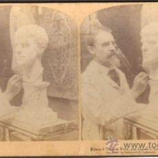 Fotografía antigua: ALBUMINA ESTEREOSCOPICA. EDWARD ONSLOW FORD, ESCULTOR DE LA REINA. LONDRES, REINO UNIDO. CA.1900. Lote 33650188