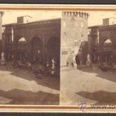 Fotografía antigua: ALBUMINA ESTEREOSCOPICA. GALERÍA DE LANZI (LOGGIA DEI LANZI). FLORENCIA, ITALIA. CA. 1900. Lote 33720284