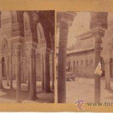 Fotografía antigua: FOTOGRAFIA ESTEREOSCOPICA - LA ALHAMBRA - PATIO DE LOS LEONES - GRANADA . Lote 34396104