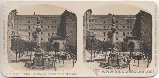 MONTSERRAT - BARCELONA - MONUMENTO A LA INMACULADA. (Fotografía Antigua - Estereoscópicas)