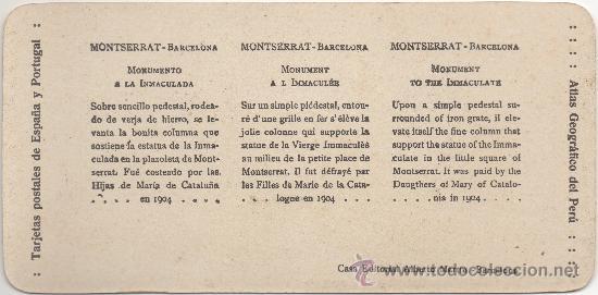 Fotografía antigua: MONTSERRAT - BARCELONA - MONUMENTO A LA INMACULADA. - Foto 2 - 34935069
