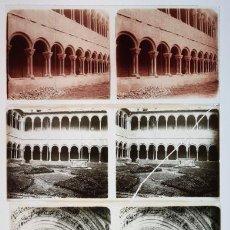 Fotografía antigua: RIPOLL, PROV. DE GIRONA, EL MONASTERIO, 1915'S. 4 CRISTALES POSITIVOS ESTEREO 6X13 CM. FXP. Lote 35033653