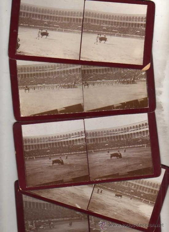 Fotografía antigua: Lote de 9 estereocópicas de Madrid. Plaza de Toros. Una corrida. - Foto 2 - 35621958