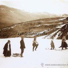 Fotografía antigua: RIBES DE FRESER, ESQUÍ, DEPORTES DE INVIERNO, AÑO 1917. CRISTAL POSITIVO ESTEREO 6X13CM. FOTO: PARÉS. Lote 36028134