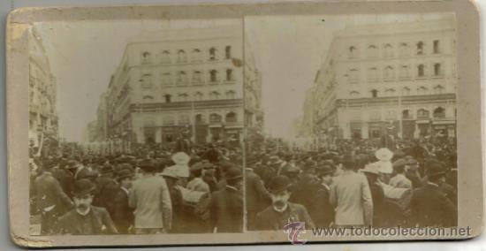 ESTEREOSCOPICA, MADRID, LOS INGENIEROS MILITARES EL 2 DE MAYO POR LA PUERTA DEL SOL, AÑ0 1905 (Fotografía Antigua - Estereoscópicas)