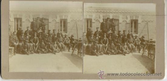 FOTOGRAFIA ESTEREOSCOPICA, MADRID, GRUPO DE CICLISTAS EN EL RESTAURANTE LA HUERTA SOBRE 1900 (Fotografía Antigua - Estereoscópicas)