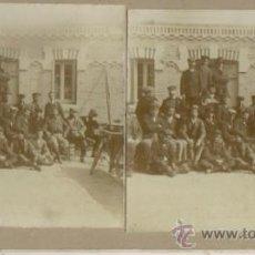 Fotografía antigua: FOTOGRAFIA ESTEREOSCOPICA, MADRID, GRUPO DE CICLISTAS EN EL RESTAURANTE LA HUERTA SOBRE 1900. Lote 36563735