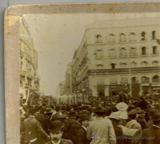 Fotografía antigua: ESTEREOSCOPICA, MADRID, LOS INGENIEROS MILITARES EL 2 DE MAYO POR LA PUERTA DEL SOL, AÑ0 1905 - Foto 2 - 36563701