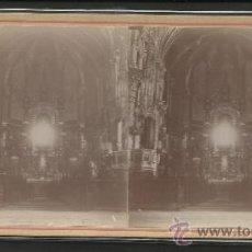 Fotografía antigua: MONTSERRAT - INTERIRO DE LA IGLESIA - FOTO ESTEREOSCOPICA - (F-374). Lote 37494296
