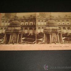 Fotografía antigua: EL ESCORIAL MADRID PATIO DEL MONASTERIO VISTA ESTEREOSCOPICA ALBUMINA SIGLO XIX. Lote 38319810