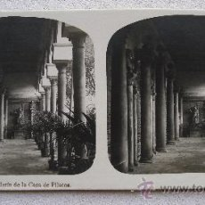 Fotografía antigua: FOTO ESTEREOSCOPICA SEVILLA Nº14 - GALERIA DE LA CASA DE PILATOS, COLECCION A.MARTIN. Lote 38742803