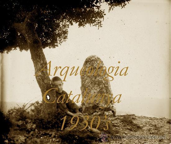 ARQUEOLOGIA - CATALUNYA - 1930'S - MENHIR - POSITIU DE VIDRE (Fotografía Antigua - Estereoscópicas)