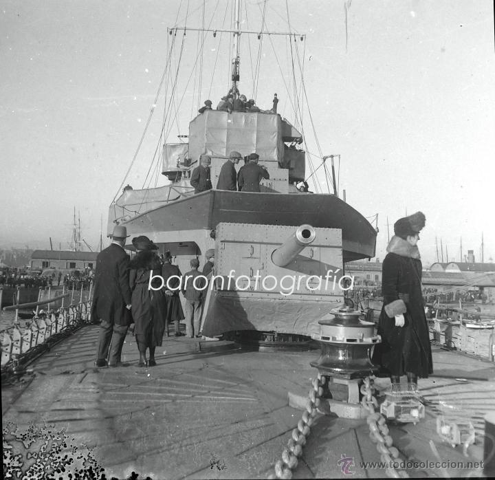Fotografía antigua: Barcos diversos, puerto Barcelona seguramente, 1920s. 4 cristales positivos y negativos 6x13 cm. - Foto 2 - 39690150