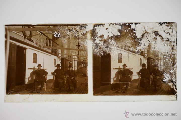 Fotografía antigua: Barcos diversos, puerto Barcelona seguramente, 1920s. 4 cristales positivos y negativos 6x13 cm. - Foto 3 - 39690150