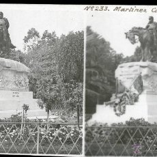 Fotografía antigua: MADRID ESTATUA RETIRO GENERAL MARTINEZ CAMPOS PLACA DOBLE POSITIV. Lote 40026897