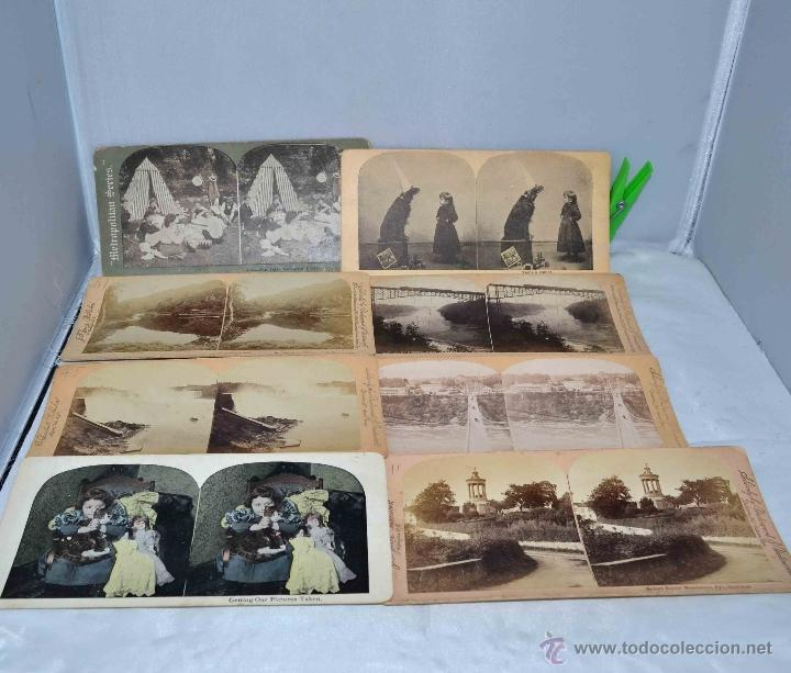 LOTE 8 FOTOS, FOTOGRAFIAS ESTEREOSCOPICAS ORIGINALES. SIGLO XIX..PAISAJES/RETRATO.. (Fotografía Antigua - Estereoscópicas)