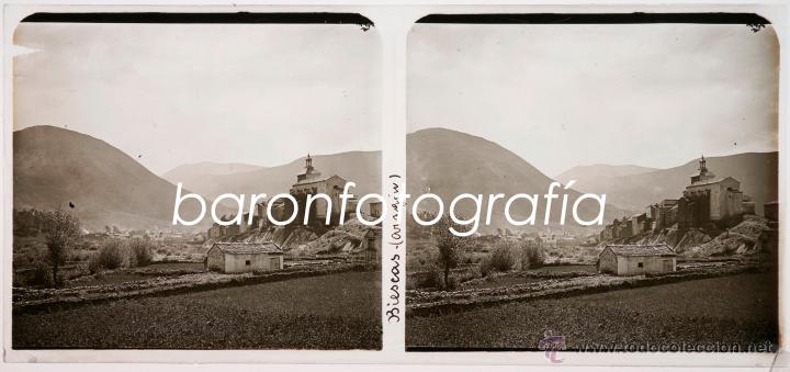 BIESCAS, PROV. DE HUESCA, AGOSTO DE 1911. CRISTAL POSITIVO ESTEREO 6X13 CM. (Fotografía Antigua - Estereoscópicas)