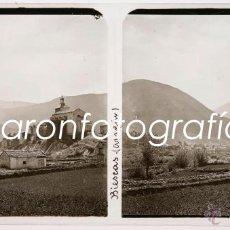 Fotografía antigua: BIESCAS, PROV. DE HUESCA, AGOSTO DE 1911. CRISTAL POSITIVO ESTEREO 6X13 CM.. Lote 40185082