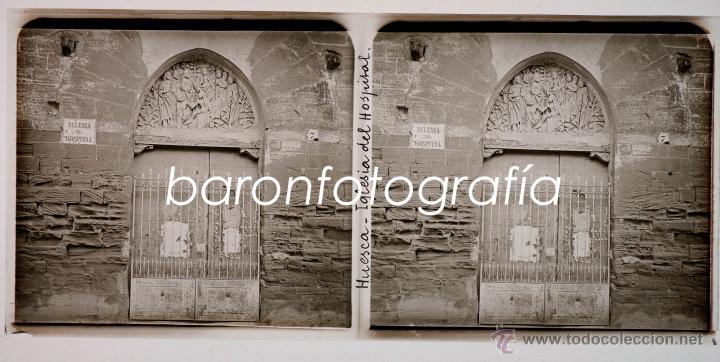 HUESCA, IGLESIA DEL HOSPITAL, AGOSTO DE 1911. CRISTAL POSITIVO ESTEREO 6X13 CM. (Fotografía Antigua - Estereoscópicas)