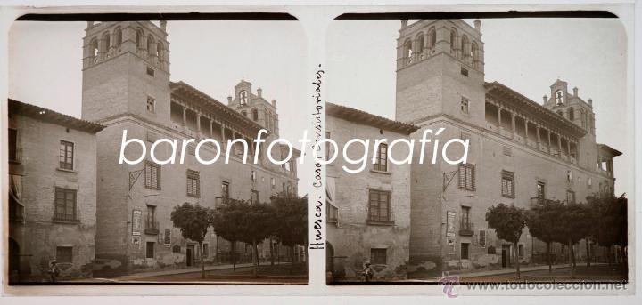 HUESCA, CASAS CONSISTORIALES, AGOSTO DE 1911. CRISTAL POSITIVO ESTEREO 6X13 CM. (Fotografía Antigua - Estereoscópicas)
