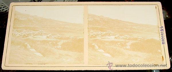 ANTIGUA FOTO ESTEREOSCOPICA DE EL ESCORIAL - MARCADO EN SELLO AZUL POR DETRAS ARROYO DE LAS CEBADILL (Fotografía Antigua - Estereoscópicas)