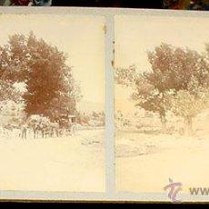 Fotografía antigua: ANTIGUA FOTO ESTEREOSCOPICA DE EL ESCORIAL - DILIGENCIA - 18 X 8,5 CMS. FINALES XIX PRINCIPIOS XX. Lote 38239729