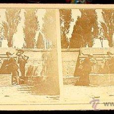 Fotografía antigua: ANTIGUA FOTO ESTEREOSCOPICA DE EL ESCORIAL -EN LA PARTE TRASERA EN SELLO AZUL PONE FUENTE DEL SEMINA. Lote 38239734