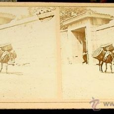 Fotografía antigua: ANTIGUA FOTO ESTEREOSCOPICA DE EL ESCORIAL - EN LA PARTE TRASERA EN SELLO AZUL PONE ENTRADA A LA HUE. Lote 38239735