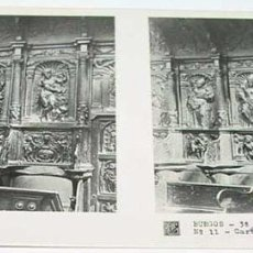 Fotografía antigua: ANTIGUA FOTO ESTEREOSCOPICA DE BURGOS. CARTUJA DE MIRAFLORES, DETALLE SILLERIA - 3ª SERIE NUM. 11 - . Lote 38248271