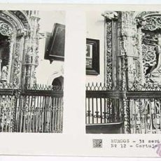 Fotografía antigua: ANTIGUA FOTO ESTEREOSCOPICA DE BURGOS. CARTUJA DE MIRAFLORES, SEPULCRO INFANTE D. ALFONSO - 3ª SERIE. Lote 38248280