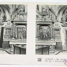 Fotografía antigua: ANTIGUA FOTO ESTEREOSCOPICA DE BURGOS. CARTUJA DE MIRAFLORES, INTERIOR IGLESIA - 3ª SERIE NUM. 14 - . Lote 38248283