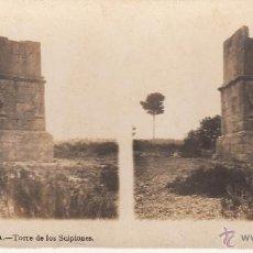 Fotografía antigua: TARRAGONA. FOTO ESTEREOCOPICA 'TORRE DE LOS ESCIPIONES'. FOT. A. MARTIN.18 X 9 CM. Lote 40747507