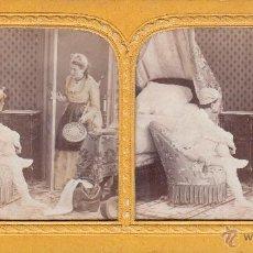 Fotografía antigua: FOTO ESTEREOSCOPICA 'TISSUE' COLOREADO: ESCENA DE DORMITORIO.18 X 9 CM. Lote 40839647