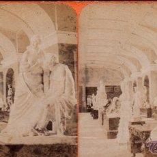 Fotografía antigua: FOTO ESTEREOSCOPICA DE MADRID: INTERIOR DE LA GALERIA DE ESCULTURAS DEL MUSEO DE MADRID. 18 X 9 CM. Lote 40850407
