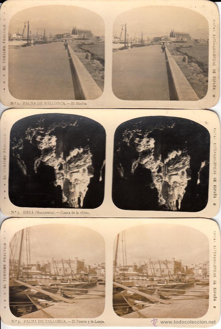 12 FOTOS ESTEREOSCOPICAS DE MALLORCA-SOLLER-DEYÁ (COLECCIÓN COMPLETA EL TURISMO PRACTICO).18 X 9 CM (Fotografía Antigua - Estereoscópicas)
